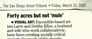"""""""Forty Acres But Not 'Mule'"""" - The San Diego Union-Tribune, Mar. 23, 2007"""