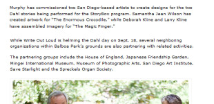 "San Diego Downtown News, ""Loving literature: Balboa Park organizations pay homage to author Roald Dahl,"" By Dave Fidlin, Sept. 2, 2016"